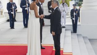 Michelle i Barack Obama oraz Lee Hsien Loong