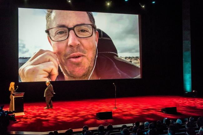 Na telebimie operator Greig Fraser, laureat Złotej Żaby za zdjęcia do filmu \