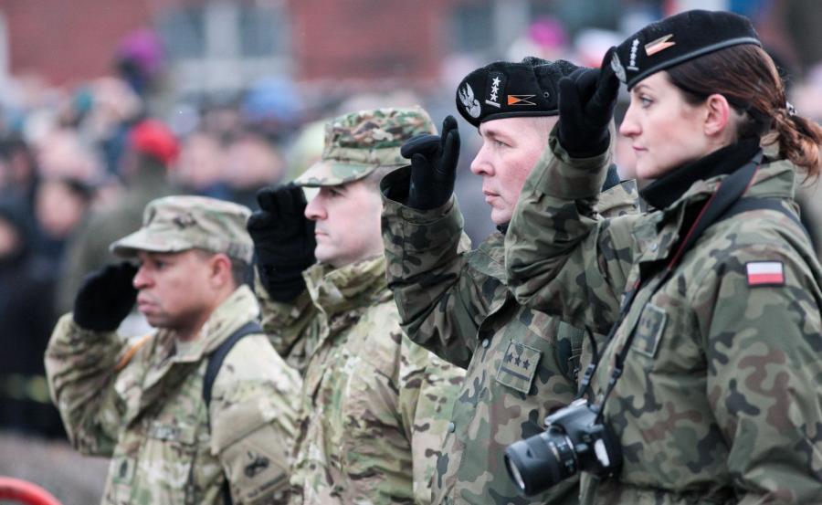 Oficjalna uroczystość przywitania wojsk amerykańskich w ramach wzmacniania wschodniej flanki Sojuszu Północnoatlantyckiego w Żaganiu