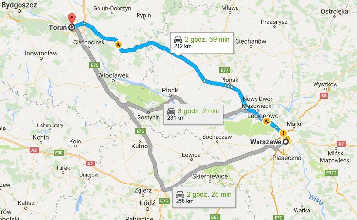 Trasa z Warszawy do Torunia