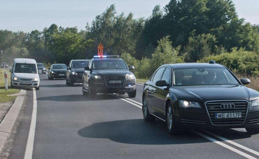 Kolumna z premierem Donaldem Tuskiem w drodze do Żagania - 2014 rok