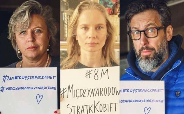 Krystyna Janda, Magdalena Cielecka i Szymon Majewski popierają Strajk Kobiet 8 marca / zdjęcie z profiul Strajk Kobiet